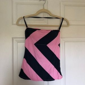 Anne Cole Pink and Navy Bathing Suit Top